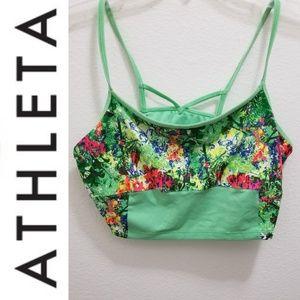 ATHLETA Green Floral Sports Crop Top